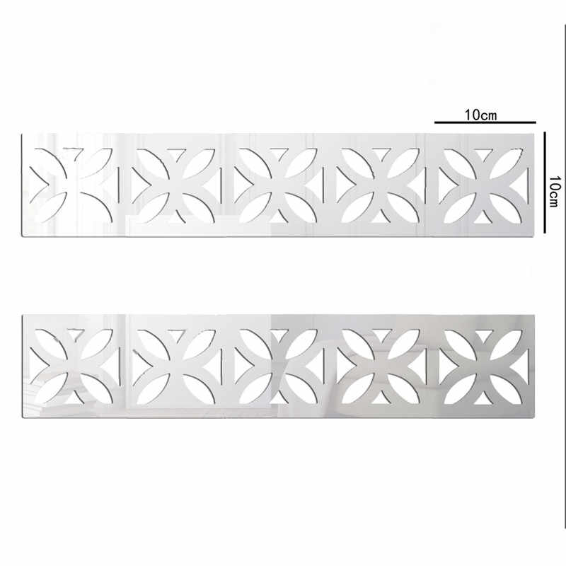 Square Waist Line Baseboard Mirror Background Wall Stickers TV Wall Stickers Three-dimensional Decorative Home Accessories
