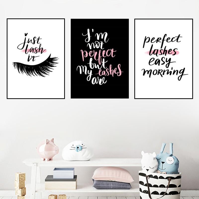 Настенная картина с розовыми цитатами для салона красоты, Картина на холсте с идеальными ресницами, художественный плакат с ресницами, дома...