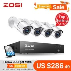 ZOSI 4K Super HD Video Überwachung System 8 Kanal H.265 + DVR mit 2TB HDD und 4x4K(8MP) ip67 Kugel Wetterfeste Kameras