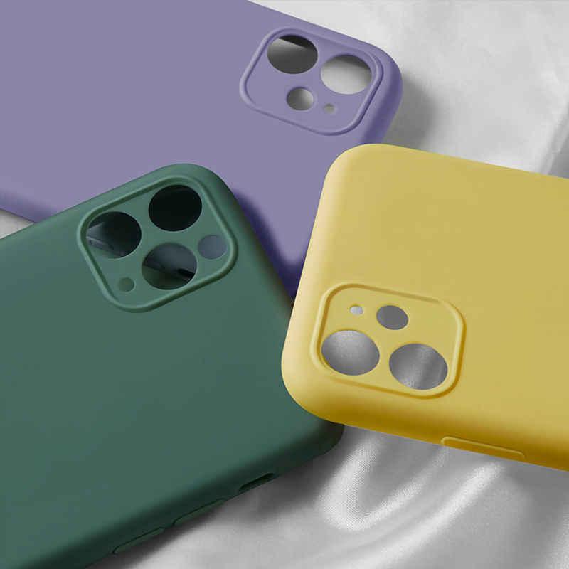 حافظة هاتف كاندي اللون لهاتف آيفون 11 11 برو ماكس سائل سيليكون بلون خلفي لهاتف آيفون 11 حافظة لينة من البولي يوريثان الحراري