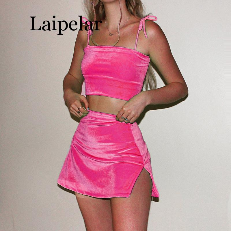Pink Velvet Two Piece Top Skirts Set Women Summer Strap Top Mini Skirt Female  Sexy Sets 4 Colors