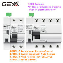 Disjoncteur de télécommande, dispositif de réinitialisation automatique, 2P 4P, 40A, 63A, 30mA, 100mA, 300mA, RCD 6KA, ELCB, RCCB, GEYA, GRD9L-R