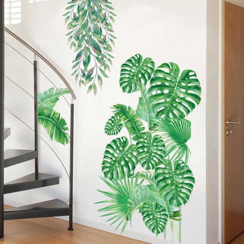 Green Palm Leaves Wall Art Sticker Modern Art Vinyl Decal Wall Mural Room Decor