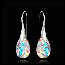 Fashion Color Crystal Earrings Blue Drop Rhinestone Pendant Female Jewelry Banquet Party Gifts Earring