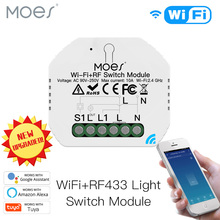 Mini DIY WiFi RF433 Smart Relay Switch Module Smart Life/Tuya App Control, Work with Alexa Google Home 1 Gang 1/2 Way