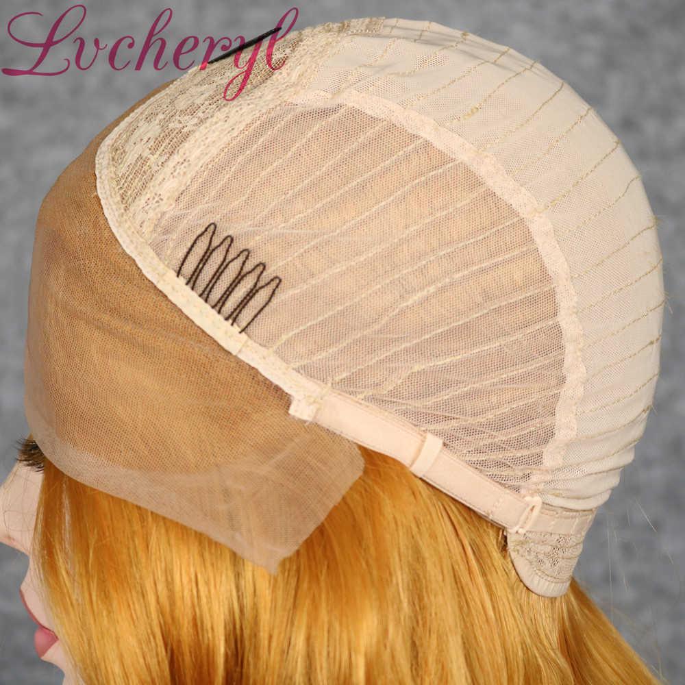 Lvcheryl złoty żółty kolor syntetyczna koronka przodu peruki krótkie faliste włosy peruki żaroodporne ręcznie wiązane włosy peruki dla kobiet