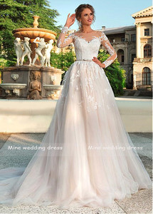 Image 2 - Long Sleeves Wedding Dress Illusion Lace Appliques with Belt Bridal Gowns Back Button and Lace Up Vestido De Noiva Wedding Gown