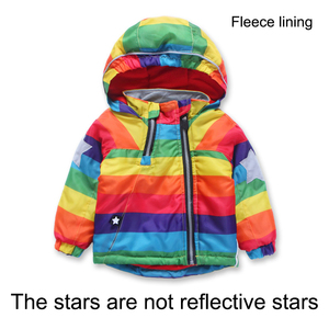 Image 2 - Куртка для мальчиков и девочек KISBINI, утепленная флисовая ветровка в радужную полоску, с капюшоном, на осень и зиму, для девочек, в наличии размеры от 2 до 8 лет