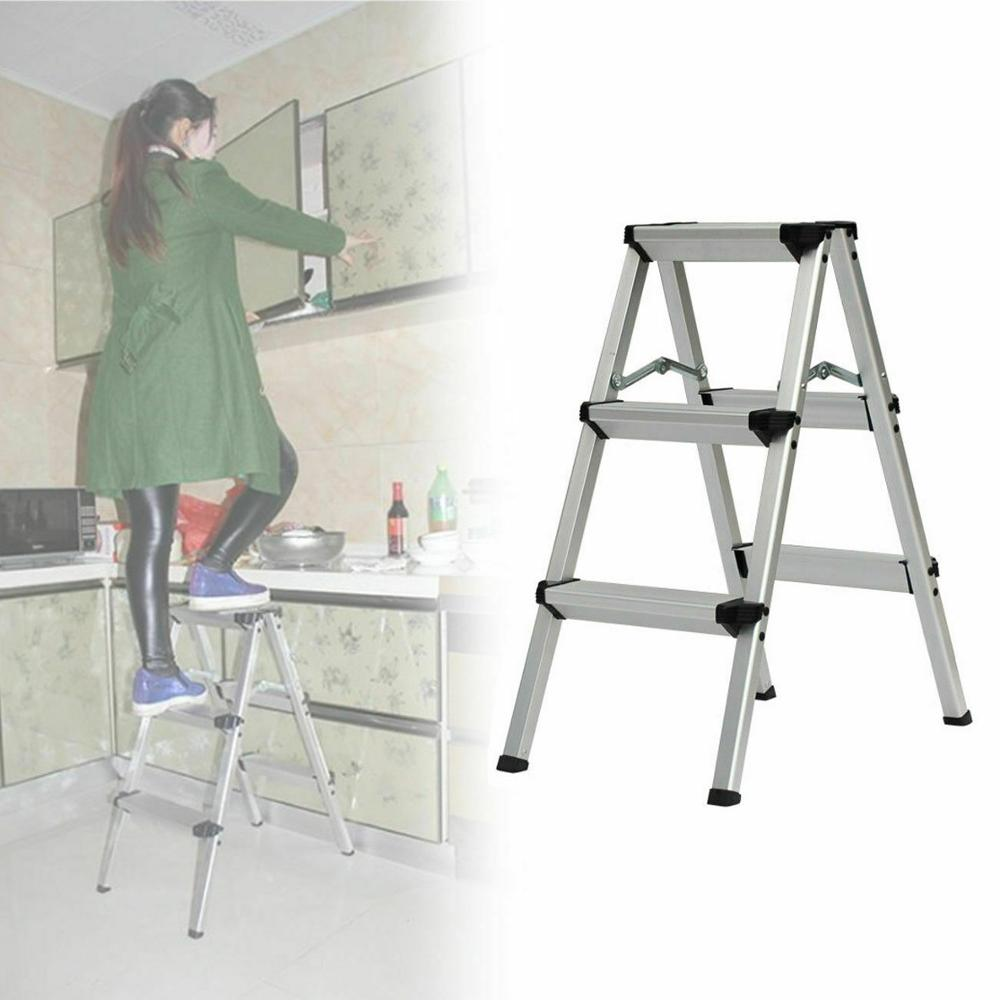 Foldable Aluminum Ladder A-type Multi-functional Folding Step Platform 3 Steps