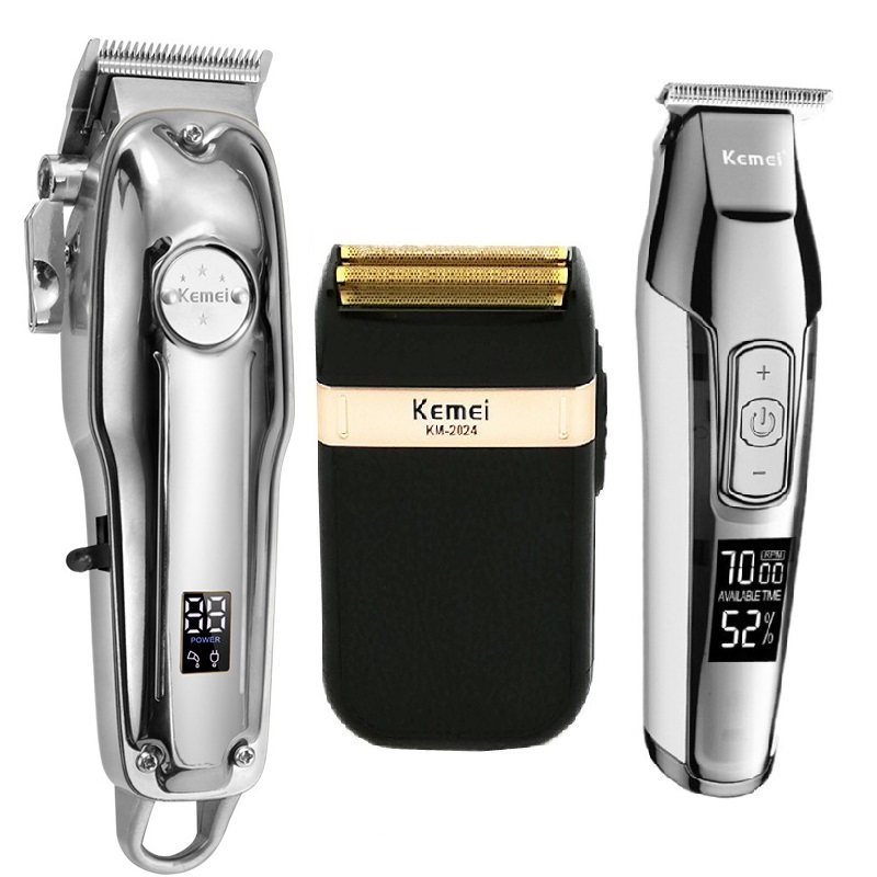 Kemei All Metal Professional Electric Hair Clipper Rechargeable Hair Trimmer Haircut Shaving Machine KM-1986+PG KM-5027 KM-2024