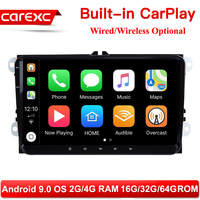 CarExc 2 Din Car Multimedia player Support Wireless CarPlay Android 9.0 AutoRadio For VW Volkswagen POLO PASSAT Golf Jetta