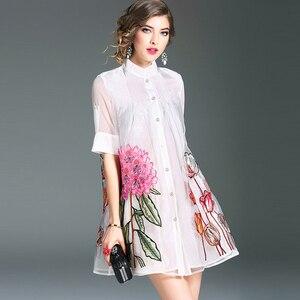 Женское однобортное платье-трапеция из органзы, элегантное белое платье с цветочной вышивкой, вечерние платья для весны и лета