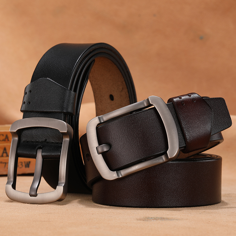 Men 140 150 160 170 Cowskin Leather Belt Vintage Cowboys Genuine Leather Pin Buckle Belt 3.80cm Width Cinto Masculino