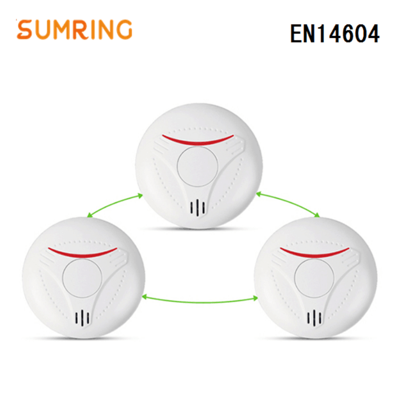 Interconnected EN14604 Smoke Alarms Lithium Battery Interlinked 433Mhz Smoke Detector For Home