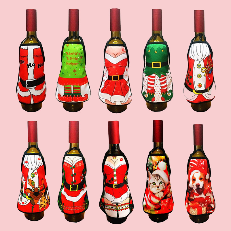 11 Pieces/Lot Santa Claus Wine Bottle Cover Bag Home Party Christmas Decoration New Year Gift Mini Apron Red Wine Bottle Cloth