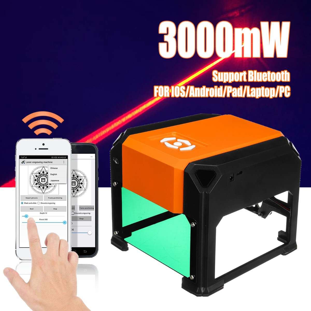 3000mW USB Bluetooth Desktop Laser Engraving Machine DIY Logo Mark Printer Cutter CNC Laser Carving Machine AC 110-220V