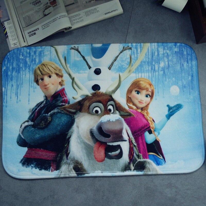 Cartoon Frozen Mat 38x58cm Anna Elsa Door Mat Bathroom Mat Kitchen Kids Boys Girls Crawling Game Mat Bedroom Carpet