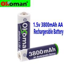 Bateria aa 2019 3800 v recarregável, bateria aa 1.5 mah recarregável para relógio, brinquedos, bateria da câmera