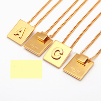 dragon necklace top Square 26 Alphabet pendant fashion charm Gold necklace micro initial letter necklaces Couple Name necklace