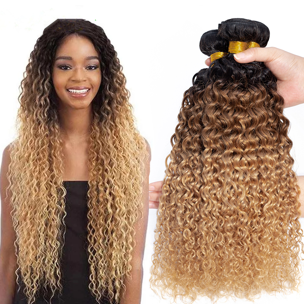 Brazilian Kinky Curly Human Hair Bundles Ombre Hair Extension 1b/30/27 Dark Root Blonde Remy Human Hair Weave 3/4 Bundles