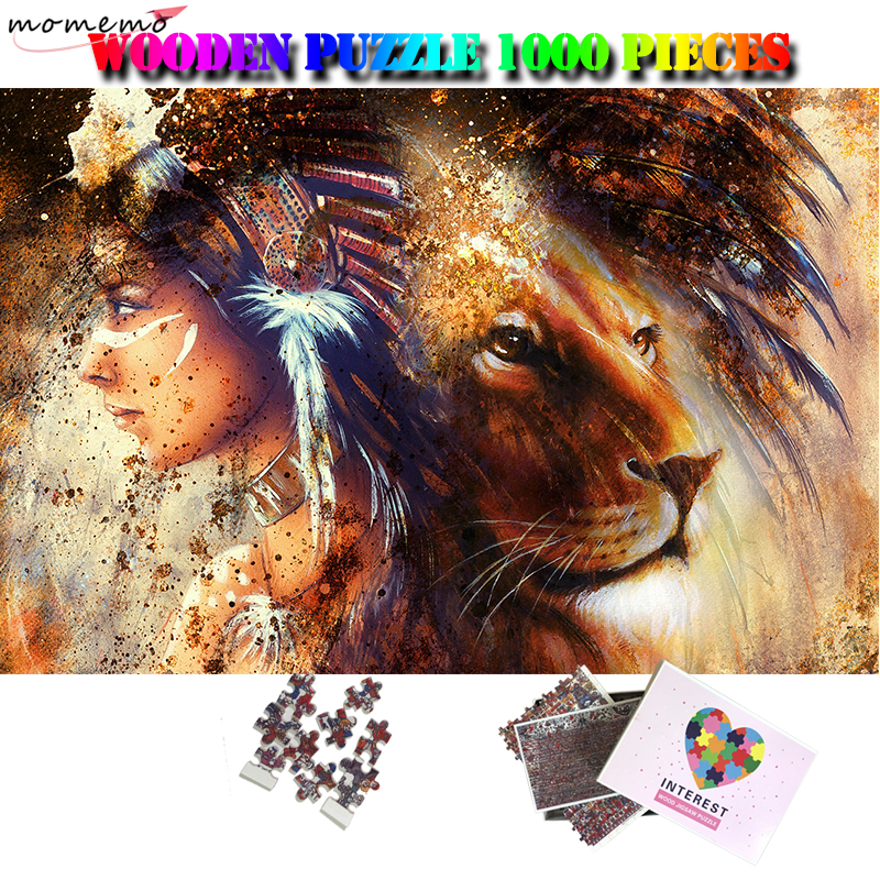 MOMEMO Squaw Girl And Lion Wooden 1000 Pieces Jigsaw Puzzles Adult Puzzle 1000 Pieces Artistic Toys Gifts Home Decor