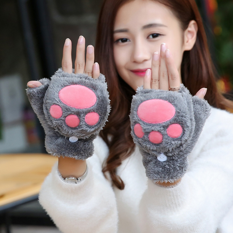 Women Cute Cartoon Bear Cat Claw Mittens Female Winter Warm Plus Plush Thick Half Finger With Lid Fingerless Touch Screen Gloves
