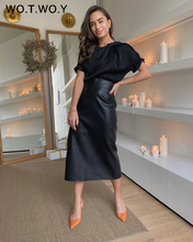 WOTWOY Office Lady High-Waisted Leather Skirt Women Spliced Mid-Long Wrapped Pencil Skirt Female Zipper-Up Solid Autumn Skirts