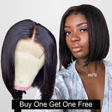 4x4 Closure Wig Short Bob Lace Front Human Hair Wigs for Black Women Straight Wave Brazilian Wig Full BUY ONE GET ONE FREE