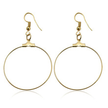 2019 Fashion Women Big Circle Drop Earrings Gold Color Simple Design Hook Dangle Earring Metal Ear Drop Jewelry Party GIft WD469