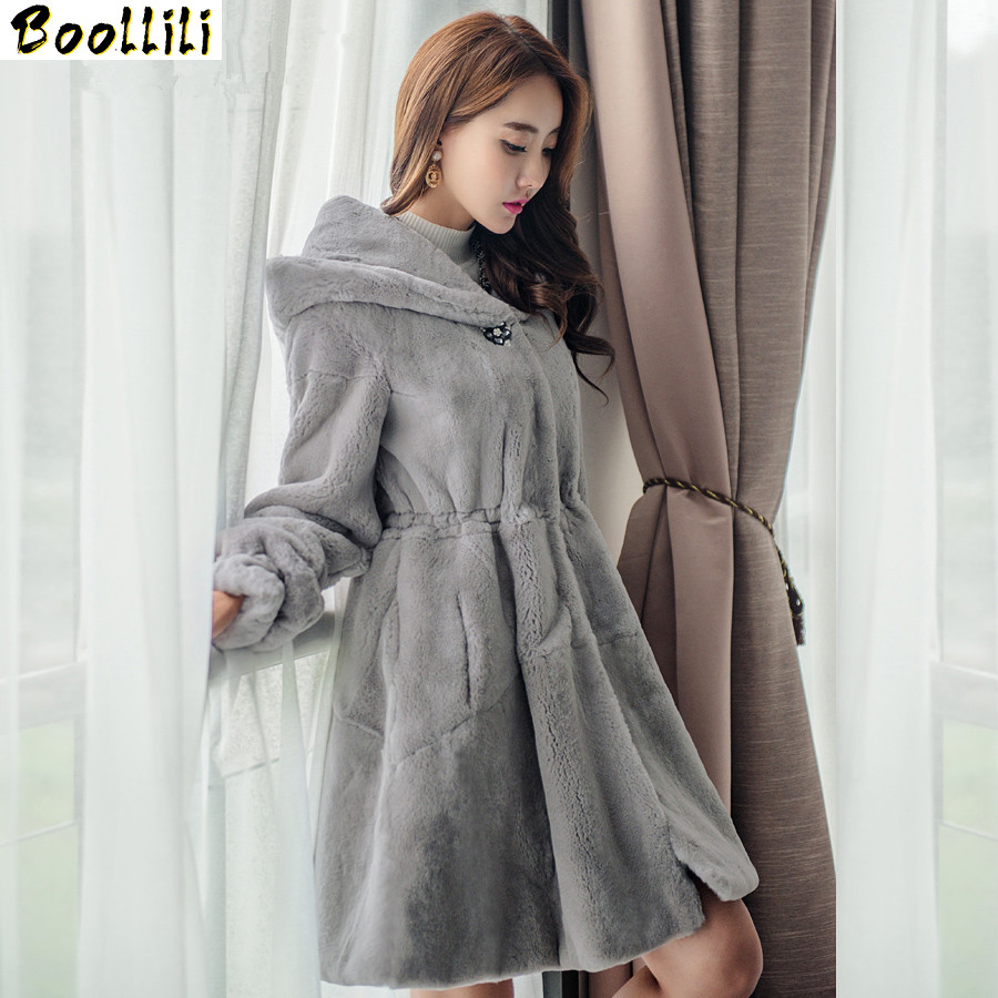 Boollili Natural Rex Rabbit Fur Coat Hooded Slim Long Winter Warm Jackets For Women Real Fur Coat Outerwear Plus Size 5XL