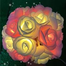 Flower LED Rose Battery Light Festive Lantern Decoration Light Photo Clip Light Simulation Rose Flower String rose flower wooden photo frame led table night light