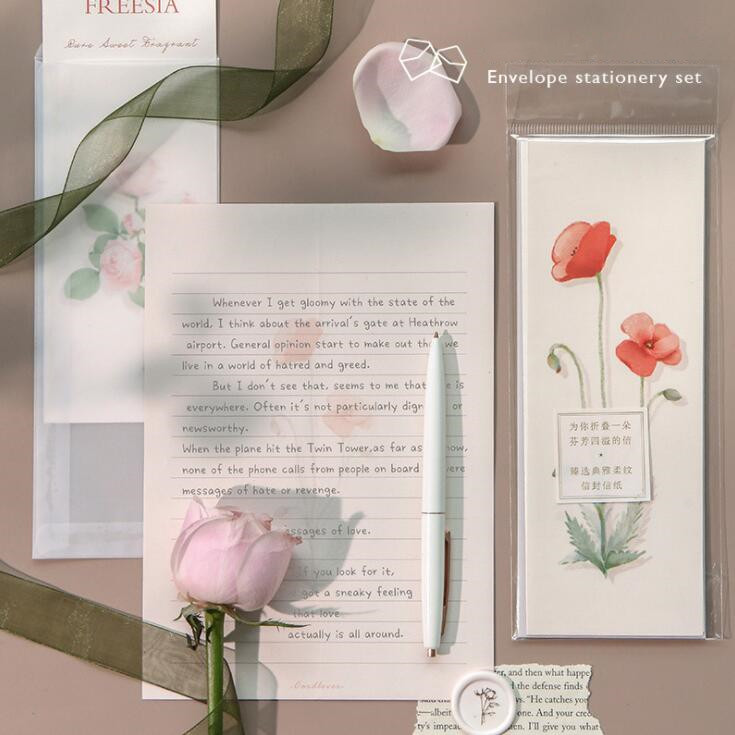 3pcs/lot Her Garden Sulphuric Acid Paper Envelope With Letters Set Festival Gift Card Message Papers Greeting Wish Stationery