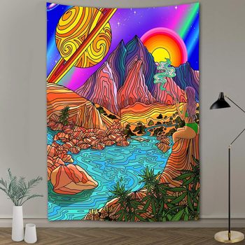Simsant Psychedelic Shrooms Tapestry Colorful Abstract Trippy Tapestry Wall Hanging Tapestries for Home Dorm Fantasy Decor 34