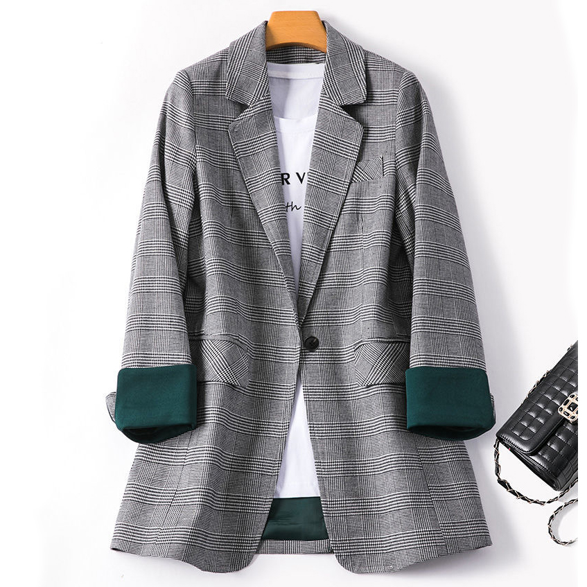 2020 Spring And Autumn Women Blazers Plaid Blazer Women's New Loose Fashion Temperament Casual Suit