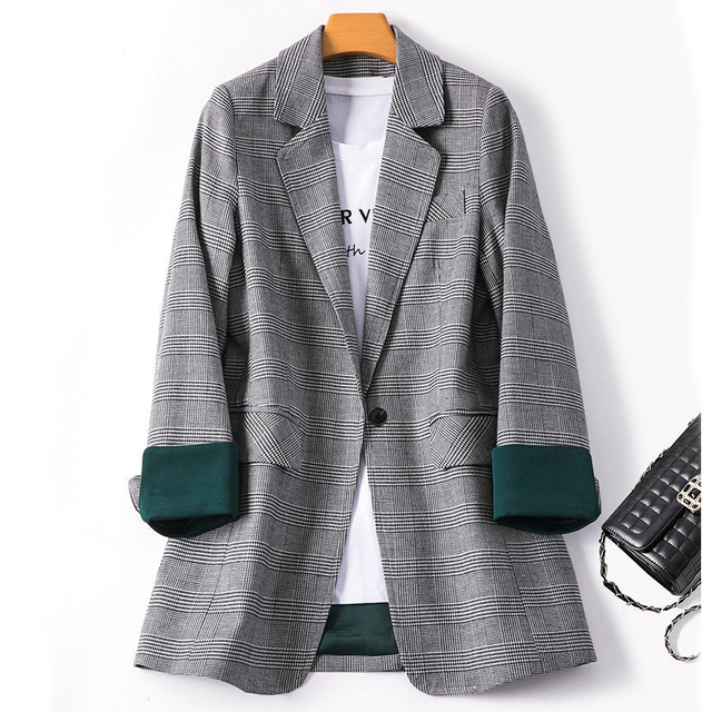 Spring And Autumn Women Blazers Plaid Coat New Loose Fashion Temperament Casual Suit Jacket Lady