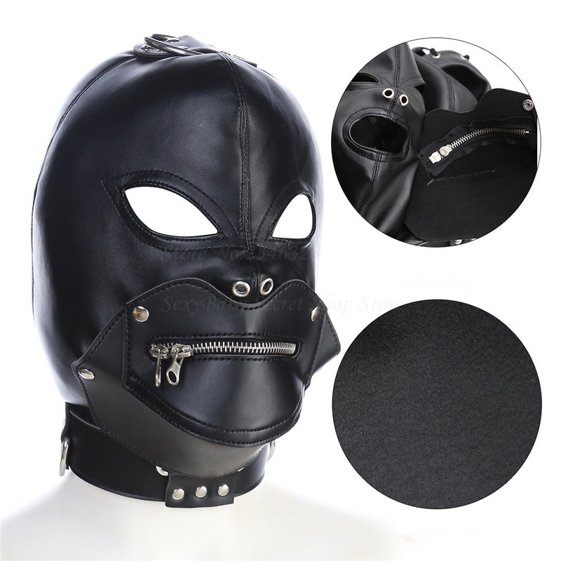 Soft Pu Leather Leather Zipper Fetish Mask Slave Restraint Open Mouth Eye Game