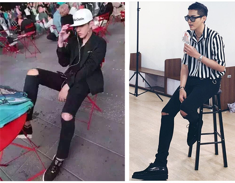 Men'S Wear Slim Fit Pants Black Ripped Jeans Fashion Fashion Casual Star Celebrity Style Street To Dance MEN'S Trousers