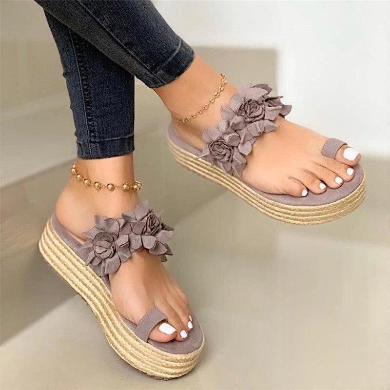 Women's Summer Sandals Flower Ladies Open Toe Slip On Flock Flat Platform Shoes Woman Fashion Comfortable Casual Female 2020