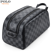 VICUNA POLO Travel Men Clutch Bag Famous Plaid Design Mens Toiletry Bag Travel Shaving Dopp Kit Waterproof Organizer Bags