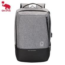 Oibeen حقيبة ظهر للرجال موضة 15.6 بوصة للكمبيوتر المحمول حقيبة مقاومة للماء مع USB شحن للسفر الأعمال على ظهره حقيبة مدرسية Daypack