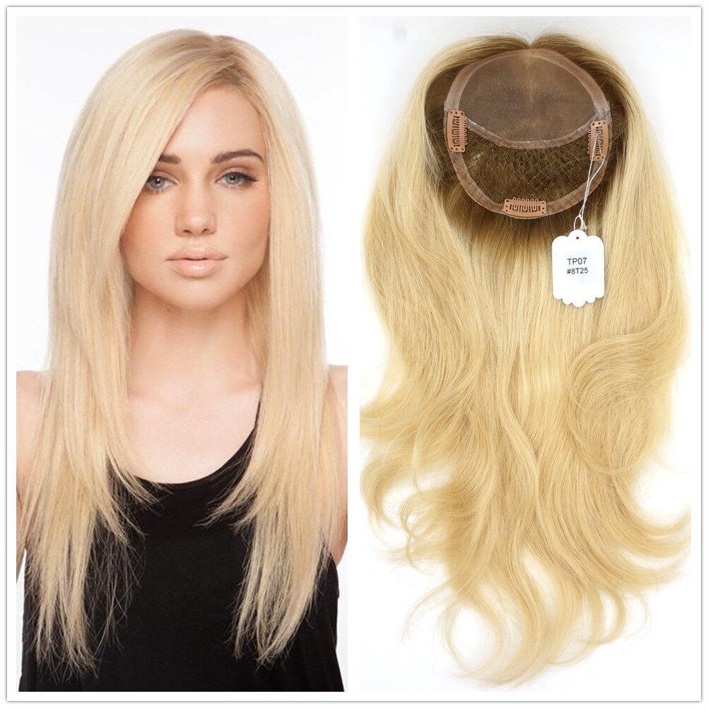 Hstonir Women European Remy Hair Self Hairpiece Handtied Magic Closure Blond Top Piece Clip Sense Crown Toupee Secret Small Base