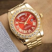 高級クリスタルダイヤモンドゴールド腕時計メンズクォーツステンレス鋼のメンズ腕時計カレンダー日付ウィーク防水トップブランド腕時計男性