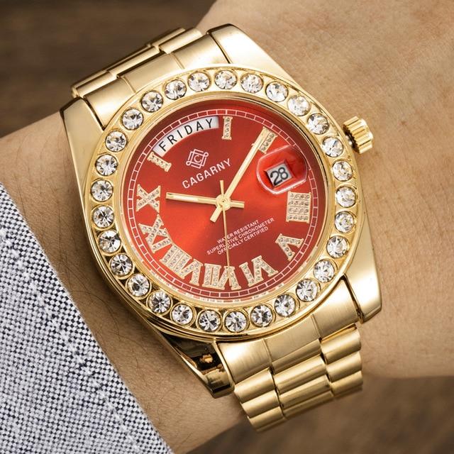 יוקרה קריסטל יהלומי זהב שעון גברים קוורץ נירוסטה גברים שעונים לוח שנה תאריך שבוע עמיד למים למעלה מותג שעוני יד זכר