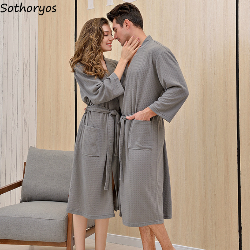 Robes Waffle Solid Simple Long Sleeve Spring Breathable Leisure High Quality Korean Style Bathrobes Homewear Couples New Ulzzang