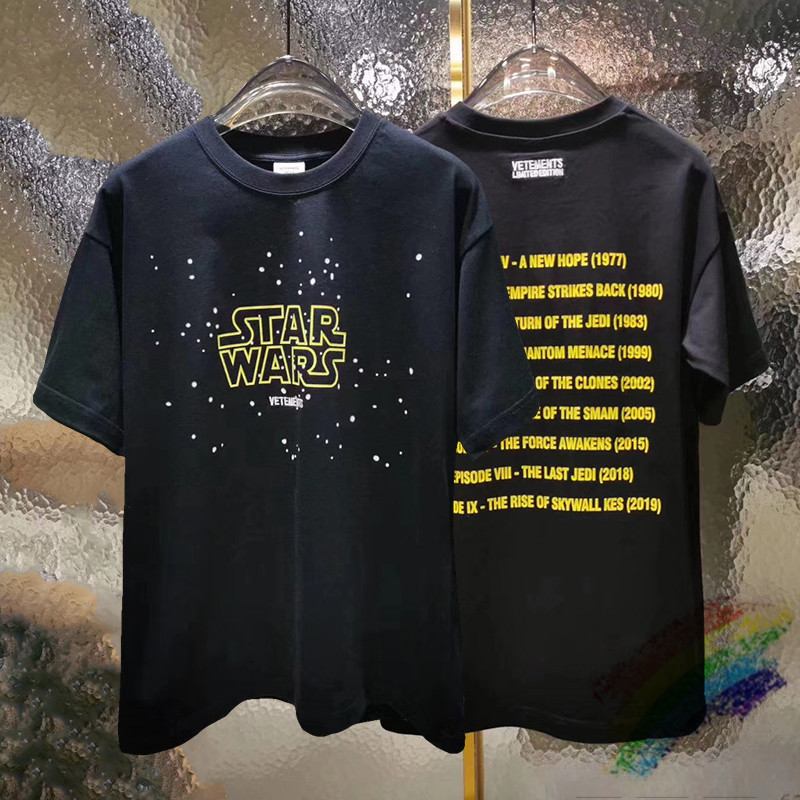 Loose Oversized VETEMENTS Star Wars Movie Poster T Shirt Men Wome 1:1 High-Quality Vetements Fashion Casual Top Tees T-shirts