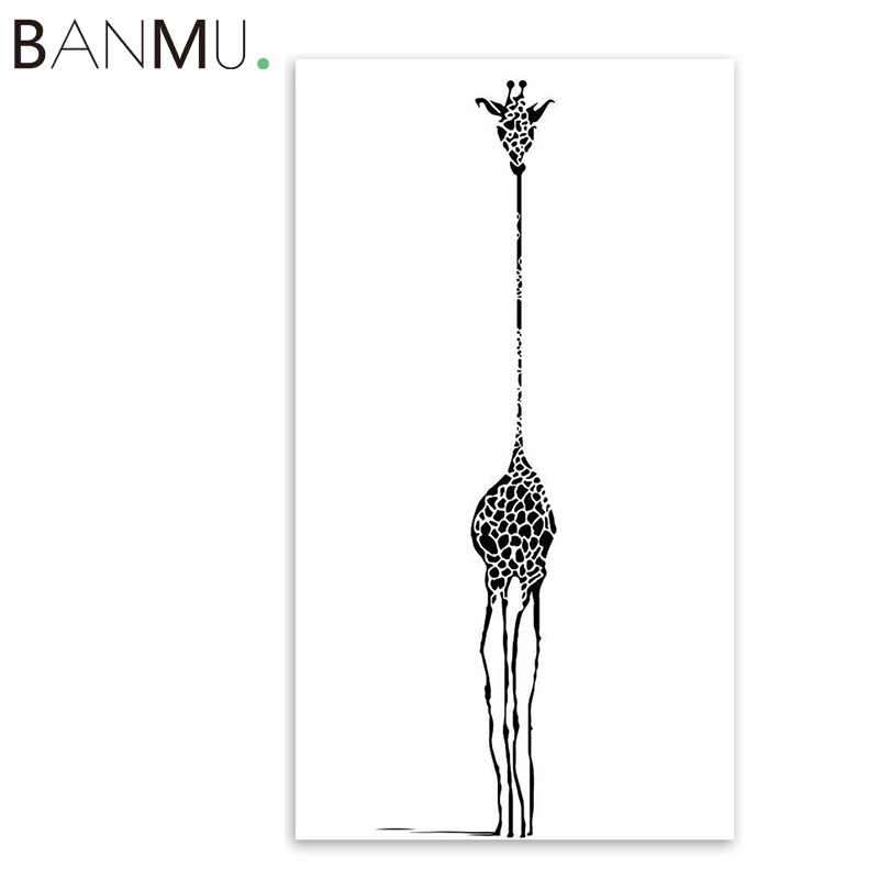 Banmu Nordic Minimalist Wall Art Canvas Paintings Print Black White Giraffe On Poster Home Decor For Livingroom Decoration Art Print Poster Wall Picturesposter Hippie Aliexpress