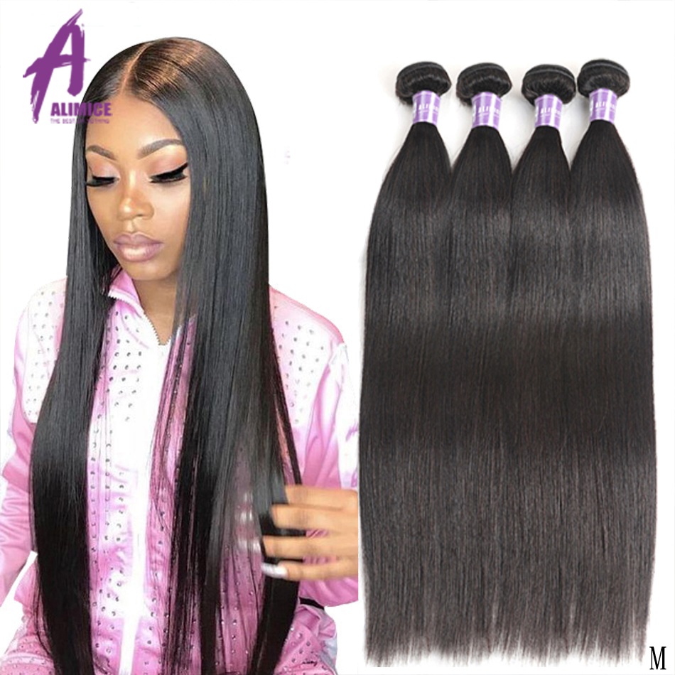 Malaysian Straight Hair Weave Bundles Deal 100% Human Hair 3/4 Bundles Alimice Remy Hair Extensions 8-28Inch Natural Color