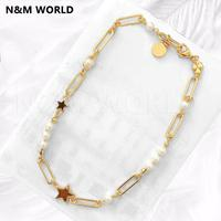 Pearl Star Tag Necklace Jewelry Fashion Classic Gold Color Hot Sale Products For Women Necklaces Birthday Gift