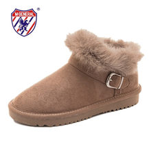 M.GENERAL Women Leather Winter Boots Fashion Woman Snow Boot Female Comfortable Ankle Shoes Breathable Platform Button Warm Shoe(China)