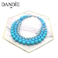 Dandie Trendy  Blue Acrylic Bead Necklace, Three Layer Elegant Necklace Jewelry